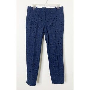 J Crew Size 2 Navy Blue Cafe Capri Eyelet Pants
